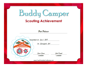 Buddy Camper Badge certificate