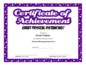 Certificate Of Achievement Physical Distancing