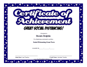 Certificate Of Achievement Social Distancing