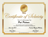 1 Year Sobriety Certificate (Gold)