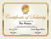 30 Days Sobriety Certificate (Gold)