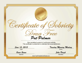 Drug Free Certificate (Gold)