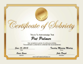 Sobriety Certificate (Gold)