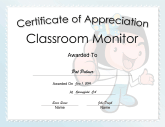 Classroom Monitor Appreciation Girl
