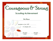 Courageous And Strong Badge certificate
