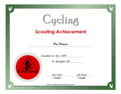 Cycling Badge certificate