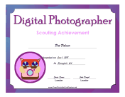 Digital Photographer Badge certificate