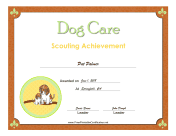 Dog Care Badge certificate