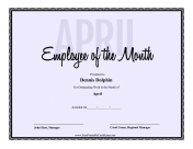 Employee Of The Month April certificate