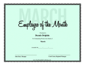 Employee Of The Month March certificate
