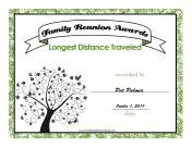 Family Reunion Longest Distance certificate