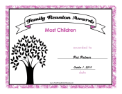 Family Reunion Most Children certificate