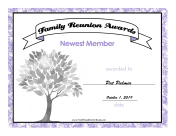Family Reunion Newest Member certificate