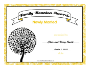 Family Reunion Newly Married certificate