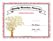 Family Reunion Oldest Member certificate