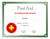 First Aid Silver Badge certificate