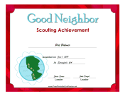 Good Neighbor Badge certificate