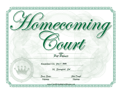 Homecoming Court Certificate Boy