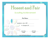 Honest And Fair Badge certificate