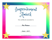 Improvement Award certificate