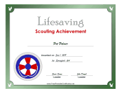 Lifesaving Badge certificate