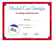 Model Car Design Badge certificate