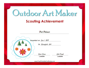 Outdoor Art Maker Badge certificate
