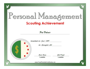 Personal Management Badge certificate