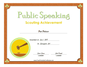 Public Speaking Badge certificate