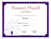 Respect Self Others Badge certificate