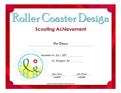 Roller Coaster Design Badge certificate