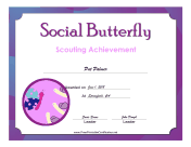 Social Butterfly Badge certificate
