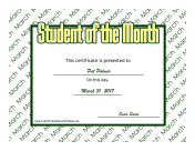 Student Of The Month March