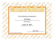 Student Of The Month October