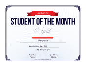 Student of the Month Certificate for April