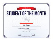 Student of the Month Certificate for July