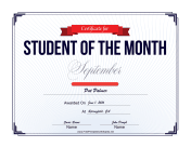 Student of the Month Certificate for September