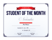 Student of the Month Certificate for November