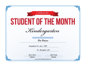 Student of the Month Certificate for Kindergarten