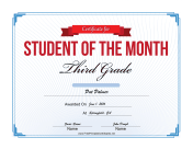 Student of the Month Certificate for Third Grade