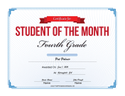 Student of the Month Certificate for Fourth Grade