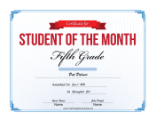 Student of the Month Certificate for Fifth Grade