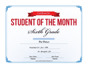 Student of the Month Certificate for Sixth Grade