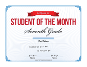 Student of the Month Certificate for Seventh Grade