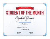 Student of the Month Certificate for Eighth Grade