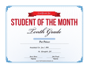 Student of the Month Certificate for Tenth Grade
