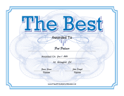The Best Certificate Blue