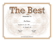 The Best Certificate Gold