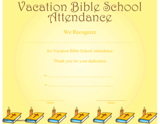 graphic about Vbs Certificate Printable known as Family vacation Bible University Attendance Certification Printable