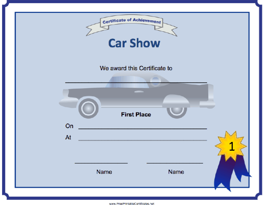 Car Show 1st Place Printable Certificate